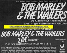 Bob Marley And The Wailers - Voice Of The Sufferers - Memorabilia Tour Posters Western Springs, Easter Monday, Nesta Marley, The Wailers, Tour Posters, Bob Marley, Reggae, Album Covers, The Voice