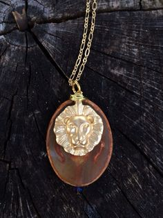 Gold Lion + Stone Necklace.   Perfect for layering!  www.caitywrenn.wordpress.com
