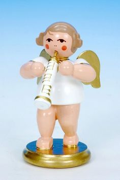 Christmas Angel white/gold Oboe (6cm/2in) by Christian Ulbricht