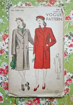 Vogue 9460  Vintage 1940s Womens Coat Pattern   by Fragolina, $8.00