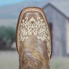 Corral Boots style is the perfect boot for every occasion. In fact a lot of women come in to the store and purchase these to wear on their wedding day. The bone floral and scroll embroidery alon Over Boots, Wedding Boots, Corral Boots, Square Toe Boots, Bride Shoes, High Heels Stilettos, Western Boots, Western Wear, Country Boots
