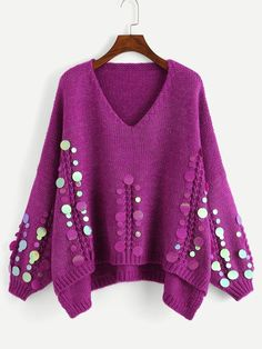 Looking for Purple Highstreet Elegant Sequin Applique Step Hem Asymmetrical Oversized Jumper ? Check out our picks for the Purple Highstreet Elegant Sequin Applique Step Hem Asymmetrical Oversized Jumper from the popular stores - all in one. Jumpers For Women, Sweaters For Women, Knit Cardigan, Pullover Sweaters, Sequin Sweater, Diy Clothes, Clothes For Women, Lingerie Fine, Sequin Appliques