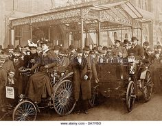 Brighton Veteran Cars at the Hotel Metropole early 1900s - Stock Image