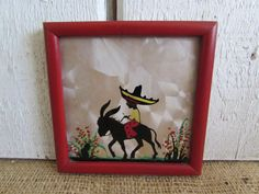Boy on Donkey Reverse Painting Silhouette, Vintage Boy on Burro Painted on Glass Silhouette, Vintage Silhouette, Old Silhouettes by OpenTwentyFourSeven on Etsy
