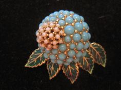 VINTAGE CINER PIN  PAVE FAUX TURQUOISE & PEARL FLOWER WITH GREEN ENAMALED LEAVES #Ciner