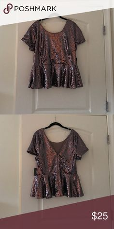 Forever 21+ purple sequin peplum top Beautiful sequin peplum top, bought it too big and forgot to return it! Forever 21 Tops Blouses