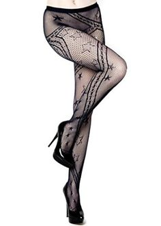81a4f8d8c Stella Elyse Stars and Swirling Ribbons Fishnet Pantyhose (Regular