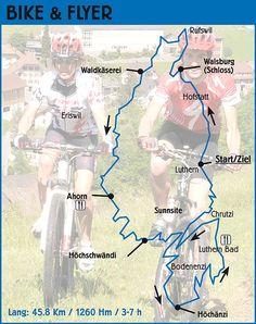 Streckeninformationen Biketour lang (45,8 Km / 1260 Hm) / geeignet für geübte Mountainbiker/innen und Elektrovelofahrer/innen