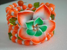 Orange Green and White with Crystal Polymer Clay by OctoberPetals