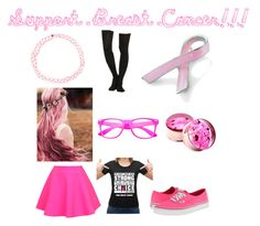 """Support Breast Cancer!!!"" by lostsilvia ❤ liked on Polyvore"