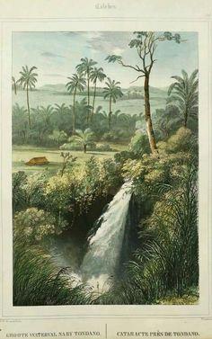 Waterfall Lake Tondano, Celebes (Sulawesi).  1817-1898