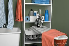 hidden ironing board for your laundry room. Folds up neatly when you aren't using it. genius!