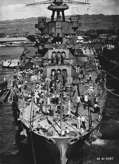 USS Pennsylvania, 1944. Being in dry dock at the time, she survived Pearl Harbor relatively unscathed, and was not as extensively modernised thereafter as more badly damaged ships. On 12 August 1945 (3 days before the end of WW2) she was badly damaged by torpedo bomber attack, and permanently decommissioned on the 29th.