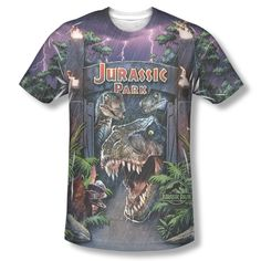 74371526f0de7 New Jurassic Park Movie T-Rex Welcome ALL FRONT Sublimation T-shirt Top  jurassic