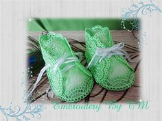 Baby booties lace green 4x4 hoop-FSL-11 baby by EmbroideryByTM
