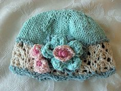 Hand Knitted Baby Hat with Ivory Lace and by CottonPickings, $24.00