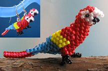 3D Scarlet Macaw Bead Pattern. Bead a beautiful parrot with easy increases and decreases in tubular peyote. Make one to sit on your desk or computer. They can also be worn as earrings or pendants. You will probably need to have some tubular peyote stitch experience.