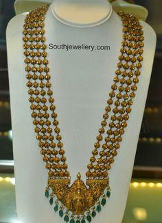 Antique Gold Beads Haram with Rama Sita Pendant - Indian Jewellery Designs Indian Jewellery Design, Latest Jewellery, Jewellery Designs, Antique Jewellery, Diamond Jewellery, Jewelry Patterns, Indian Wedding Jewelry, Indian Jewelry, Bridal Jewelry