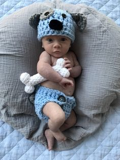 Crochet Baby Puppy Outfit Light Blue Newborn Photo Prop Outfit