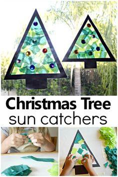 Christmas Tree Sun Catcher Holiday Craft - Fantastic Fun & Learning