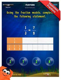Third Grade Math Apps - Fractions - Add fractions Worksheet
