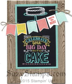 Stampin' Up! Cards - 2015-02 Class - Banner Banter, Hardwood and Sale-A-Bration Big Day stamp sets, Banner and Decorative Label Punches, White Embossing Powder,  Blendabilities Markers