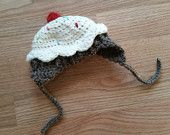 Cupcake hat.  Crocheted new born infant toddler