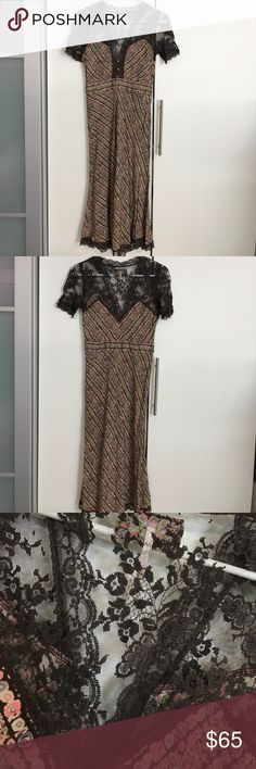 """Free People lace dress sz 0 Excellent condition. Beautiful lace dress with lovely neckline. Approx Bust 16"""", waist 13"""" flat, length 45"""" back center Free People Dresses Midi"""