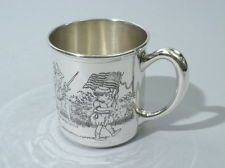 Morss American Sterling Silver Baby Cup Acid Etched Patriotic Nostalgia C 1920