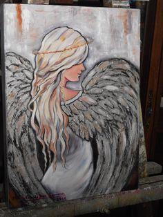 """""""ANGELITA ADOLESCENTE"""", OLEO Y ACRILICO SOBRE MADERA, 40 X 30 CM., PINTADO POR MA. EUGENIA LARA LOPEZ."""
