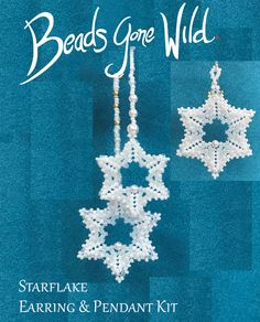 Starflake Beaded Earring and Pendant KIT Beaded Earrings, Beaded Jewelry, Bead Weaving, Step By Step Instructions, Seed Beads, Snowflakes, Dangles, Kit, Stitch