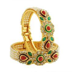 Dazzling Ebay Traditional Wedding Gold-Plated Bangles Bracelets Set For Women  | eBay