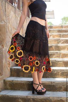 """Купить Юбка """"SunFlower"""" - оранжевый, цветочный, юбка, ирландское кружево, подсолнухи, фуксия, вязаная юбка"""