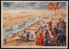 The picture shows the inauguration ceremony of the Suez Canal. After having obtained a concession from the Egypt viceroy, Vicomte de Lesseps created the Suez Canal Company and in the years 1859-1869 constructed the Suez Canal, according to the plans of Alois Negrellis and financed by French capital. The inauguration took place on 17th of November 1869.