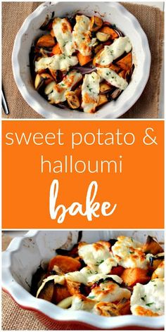 This sweet potato and halloumi bake makes a yummy vegetarian main meal, served with a salad and crusty bread. Hallumi Recipes, Healthy Food Recipes, Tasty Vegetarian Recipes, Vegetarian Dinners, Veggie Recipes, Dinner Recipes, Cooking Recipes, Vegetarian Sweets, Veggie Dinners