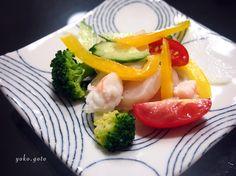 【Cooking 】 サラダは、ホタテとエビのマリネです。