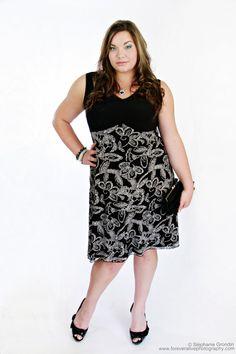 Plus Size Summer Dress  Black & Off white Flower by MelanieDubuc, $125.00