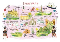"""Clair Rossiter, map of Edinburgh for The Art Group. This is perfect except that it's called """"Calton Hill"""", not """"Carlton Hill"""". Travel and map illustration Scotland Map, England And Scotland, Scotland Travel, Travel Maps, Travel Posters, Plan Ville, Edinburgh City, Glasgow, Country Maps"""