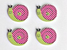 4 Wooden Snail Buttons - Pink Snail Buttons - Snails - Quilting - Sewing - Buttons - #WSB0027 Sewing A Button, Different Colors, Card Making, Scrapbook, Buttons, Display, Quilts, Snails, Christmas Ornaments
