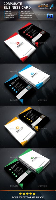 Corporate Business Card by design_park This is a Corporate Business card. This template download contains a 300 dpi print-ready CMYK 08 psd files. All main elements are