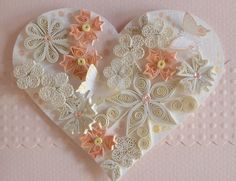 White heart with peach and white flowers ~ so delicate and pretty