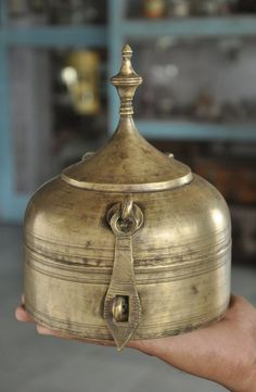 1930's Old Brass Unique Crown / Temple Shape Solid Handcrafted Jewellery Box #unknown