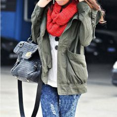 Stylish Leisure Solid Color Hood Trench Coat