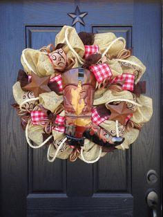 WESTERN BOOT BURLAP Mesh Wreath by GlitzyWreaths on Etsy, $110.00
