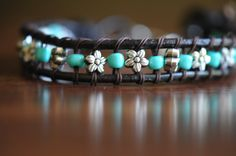 Leather Silverplated Flower and Turquoise Blue Seed Bead Stackable Boho Style Bracelet by LaceCharming on Etsy