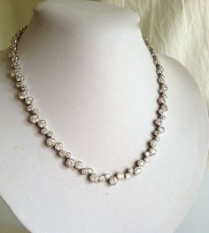 Vintage Diamond Eternity Estate Jewelry Necklace $184