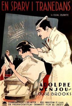 Swedish poster for 1926's A Social Celebrity, starring Adolphe Menjou and Louise Brooks.