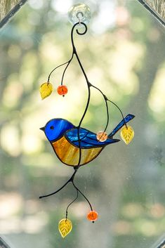 Bluebird stained glass suncatcher Custom stained glass bird artwork anniversary gift bird cage decor - My Magnificent Ideas Stained Glass Ornaments, Stained Glass Birds, Stained Glass Suncatchers, Stained Glass Crafts, Stained Glass Panels, Fused Glass, Custom Stained Glass, Stained Glass Designs, Stained Glass Patterns