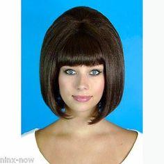 60-039-s-Beehive-Hairspray-Brown-Wig-Women-039-s-fancy-dress-costume-accessory