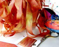 7mm Silk Ribbon Hand Dyed Cinnamon Toast Brown by RainbowFingers, $6.00